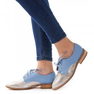 Pantofi office cu interior din piele naturala Rosalia argento
