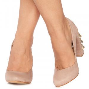Pantofi stiletto cu toc gros din velur Giuseppina bej