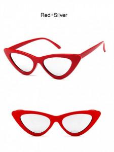 Ochelari de soare retro ochi de pisica Giuliana rosu cu lintila argintie