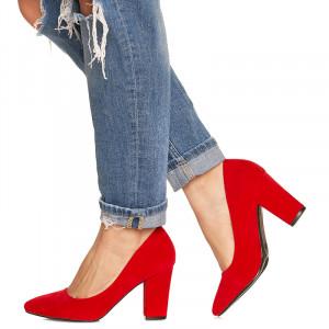 Pantofi cu toc gros din velur Camilia rosu