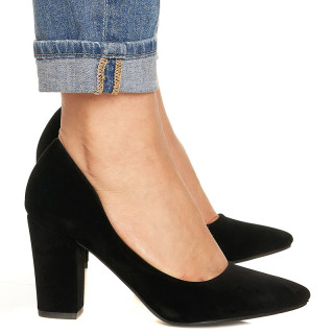 Pantofi cu toc gros din velur Camilia