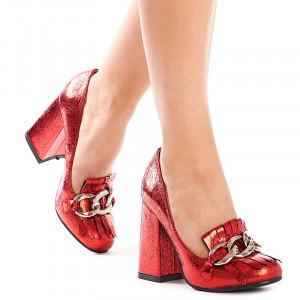 Pantofi cu toc gros trendy Alexa rosu