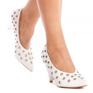 Pantofi cu toc gros trendy Anetta alb
