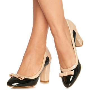 Pantofi cu toc mediu gros din lac Sabrina negru cu bej