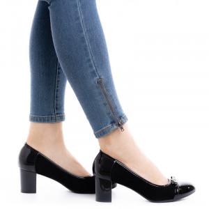 Pantofi dama office cu toc mic Daria negru cu velur