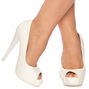 Pantofi de mireasa cu toc inalt si platforma Giulietta