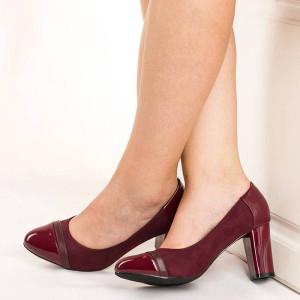 Pantofi office cu toc gros Natalia bordo
