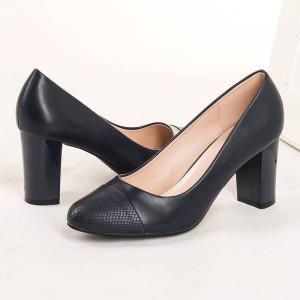 Pantofi office cu toc gros Natalia navy