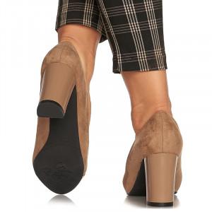 Pantofi office cu toc mediu gros Angelica negru bej inchis