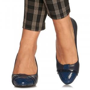 Pantofi office cu toc mediu gros Emilia bleumarin