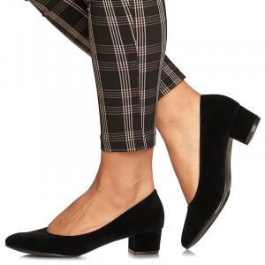 Pantofi office cu toc mic din velur Alma negru