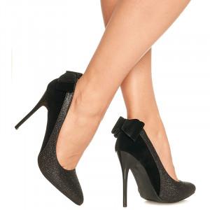 Pantofi stiletto cu toc inalt din velur cu material deosebit lucios Malena negru