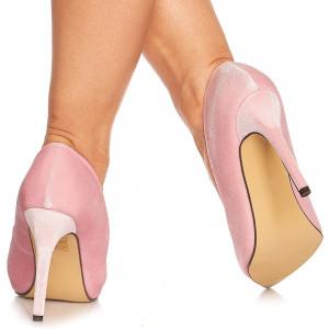 Pantofi stiletto cu toc inalt din velur Noela roz