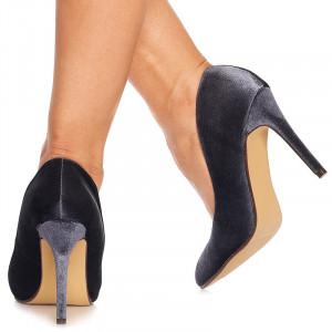 Pantofi stiletto cu toc inalt din velur Noela