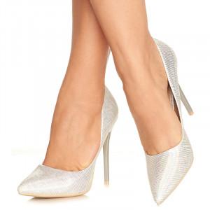 Pantofi stiletto cu toc inalt Gabriela alb