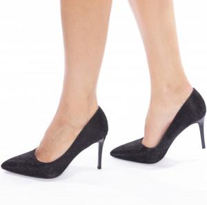 Pantofi stiletto cu toc inalt glitter Josela
