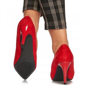 Pantofi stiletto cu toc mediu din velur Alicia rosu