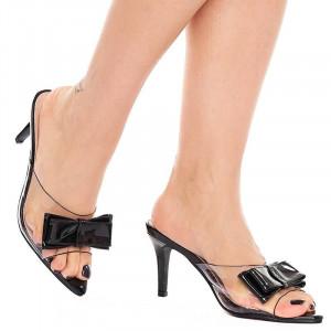 Saboti dama trendy cu toc mediu Olivia negru