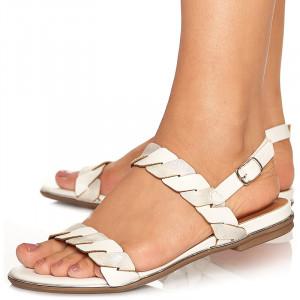 Sandale cu talpa joasa Adora gri cu alb