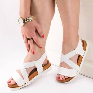 Sandale cu talpa joasa comoda Marta alb