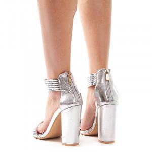 Sandale cu toc gros elegante Amalia argintiu