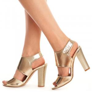 Sandale cu toc gros Sabrina auriu
