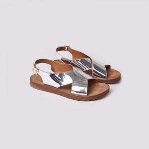 Sandale dama, casual, Argintiu