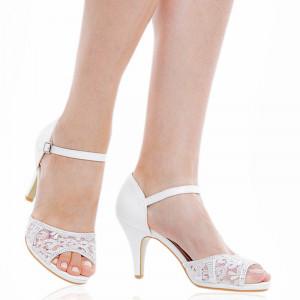 Sandale dama de mireasa cu toc Silvia