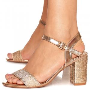 Sandale de ocazie cu toc mediu Rebeca bronze