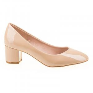 Pantofi office cu toc mic comod Bianca crem