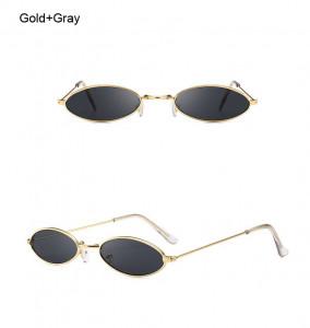 Ochelari de soare retro oval Giulietta auriu cu lentila gri