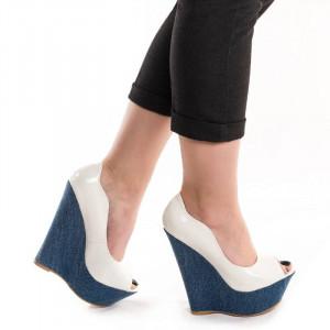 Pantofi cu platforma chic Adona alb