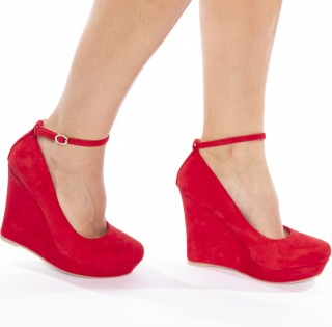Pantofi cu platforma din velur Alexa rosu