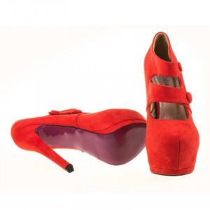 Pantofi cu platforma din velur Amalia red