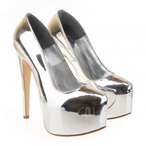 Pantofi cu platforma metalic sil Bianca