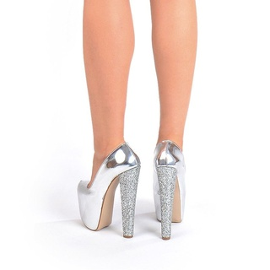 Pantofi cu platforma silver Angelina
