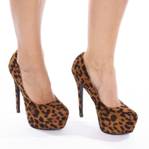 Pantofi cu toc inalt si platforma leopard Cristina