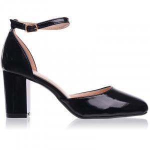 Pantofi dama decupati cu toc mediu gros Giulia negru