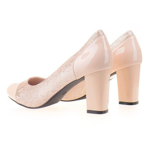 Pantofi office cu toc gros comod Adria bej