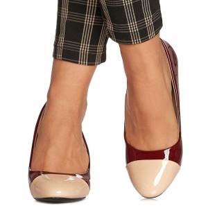 Pantofi office cu toc mediu gros in doua culori Roma