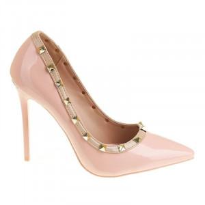 Pantofi stiletto cu toc inalt Amalia bej