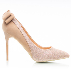 Pantofi stiletto cu toc inalt din velur cu material deosebit lucios Malena auriu