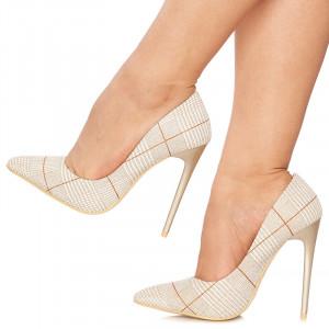 Pantofi stiletto cu toc inalt Graziella bej