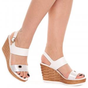 Sandale cu Platforma Albe Sherine