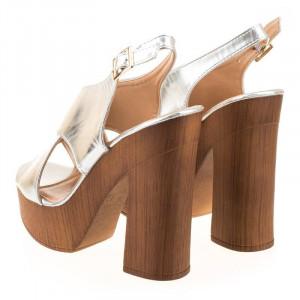 Sandale cu platforma imitatie lemn Rosalia argintiu