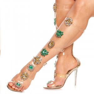 Sandale cu toc inalt deosebite Amalia auriu