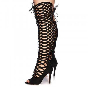 Sandale cu toc inalt din velur Grazia negru