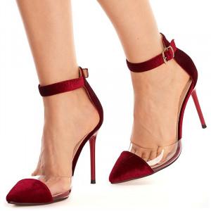 Sandale cu toc inalt din velur Sofia