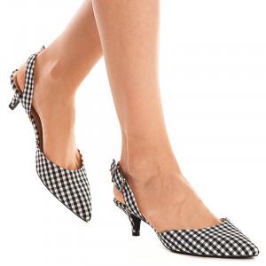 Sandale cu toc mic Sara alb negru