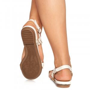 Sandale Dama Talpa Joasa Adora Gri cu Alb
